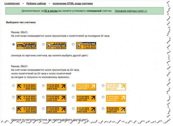 Страница настроек для получения счетчика liveinternet